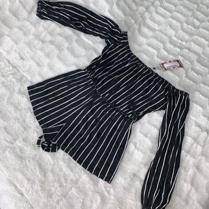 Boohoo blank and white off the shoulder romper